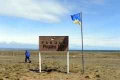 Centro de investigación en el parque de pingüinos de rey en el golfo de Inutil fotos de archivo libres de regalías