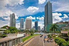 Centro de Jalan Bundaran HI de Jakarta, Indonésia. imagem de stock