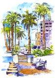Centro de la ciudad con la calle y los edificios de la ciudad de Miami en la Florida, los E.E.U.U. Chapoteo de la acuarela con el Imágenes de archivo libres de regalías