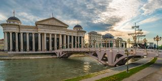Centro de la ciudad de la ciudad de Skopje, el República de Macedonia imágenes de archivo libres de regalías
