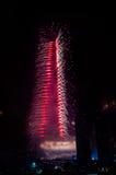 Centro de la ciudad y Burj Khalifa de Dubai de los fuegos artificiales Fotografía de archivo libre de regalías