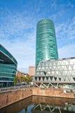Centro de negócios de Francoforte no rio Fotografia de Stock