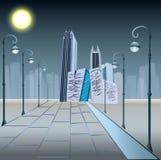 Centro de negócios na noite imagens de stock royalty free