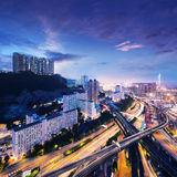 Centro de negócios de Hong Kong no nascer do sol Fotos de Stock Royalty Free