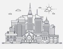 Centro de negocios de arquitectura grande de las propiedades inmobiliarias del concepto de los edificios de los megapolis de los  libre illustration