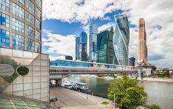 Centro de negocios del International de Moscú de los rascacielos Foto de archivo libre de regalías
