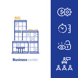 Centro de negocios, edificio moderno de cristal, promoción del alquiler stock de ilustración