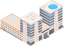 Centro de negocios moderno isométrico en un fondo blanco Imagen de archivo