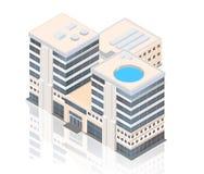 Centro de negocios moderno isométrico en un fondo blanco con la reflexión Fotos de archivo libres de regalías