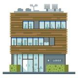 Centro de negocios moderno Tiendas y cafés stock de ilustración