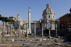 Centro de Roma, coluna de Trajan, o fórum de Trajan, Lazio, Itália Imagens de Stock Royalty Free
