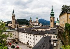 Centro de Salzburg, Áustria Fotos de Stock Royalty Free