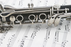 Centro de un clarinet con claves Imágenes de archivo libres de regalías