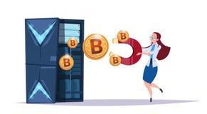 Centro del bitcoin del almacenamiento de datos con los servidores y el personal de recibimiento Ayuda de comunicación de la explo stock de ilustración
