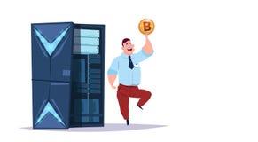 Centro del bitcoin del almacenamiento de datos con los servidores y el personal de recibimiento Ayuda de comunicación de la explo libre illustration