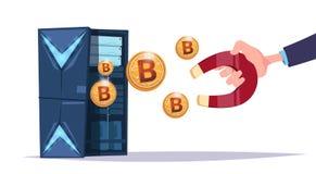 Centro del bitcoin del imán del control de la mano del almacenamiento de datos con los servidores y el personal de recibimiento A stock de ilustración