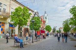 Centro del cityl en Mukachevo, Ucrania Foto de archivo libre de regalías