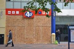 Centro del negozio di tumulti 2011-Phone dell'Birmingham-Inghilterra Fotografie Stock