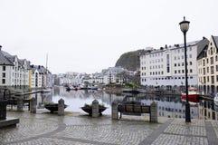 Centro della città di Alesund @Norway Fotografia Stock