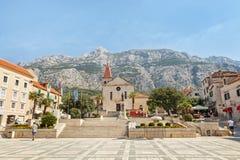Centro della città di Makarska, Croazia Fotografia Stock Libera da Diritti
