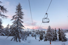 Centro dello sci di Vogel in montagne Julian Alps Immagini Stock