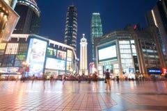 Centro di affari di Chongqing (Jiefangbei) alla notte Fotografie Stock