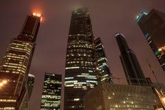 Centro di affari internazionale della città di Mosca di notte, la Russia Fotografia Stock
