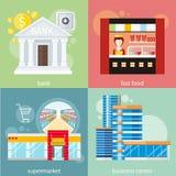 Centro di affari, supermercato, banca, alimenti a rapida preparazione Fotografia Stock