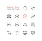 Centro di aiuto - singola linea sottile icone messe Immagini Stock