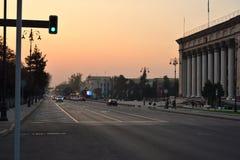 Centro di Almaty nella sera Fotografia Stock Libera da Diritti