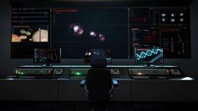 Centro di assistenza medica umano, sala di controllo principale, animazione della divisione cellulare 3D, biologia Ingegneria gen illustrazione di stock