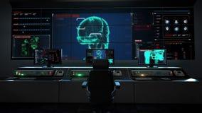 Centro di assistenza medica umano, sala di controllo principale, corpo d'esplorazione girante del robot 3D individualmente illustrazione vettoriale