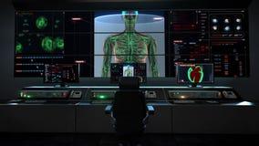 Centro di assistenza medica umano, sala di controllo principale, corpo umano femminile che esplora sistema linfatico nel cruscott illustrazione vettoriale