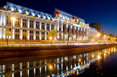 Centro di Bucarest entro la notte Fotografie Stock