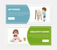 Centro di creatività, Art School Banner, modello d'atterraggio della pagina, bambini che disegnano e che dipingono in Art Class V royalty illustrazione gratis