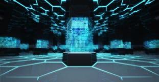 Centro di elaborazione di scienza astratta di codice binario Immagine Stock