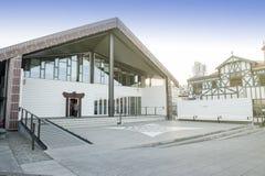 Centro di funzione di Wharewaka su lungomare di Wellington, Nuova Zelanda Immagine Stock Libera da Diritti