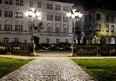 Centro di Timisoara alla notte Fotografia Stock Libera da Diritti