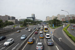 Centro direzionale dell'Asia Pechino, cinese, traffico cittadino Fotografie Stock Libere da Diritti