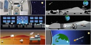 Centro do controlo da missão Ilustração do vetor do lançamento de Rocket Estação e espaço ilustração do vetor