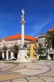 Centro e statua storici di Bocage a Setubal, Portogallo Immagini Stock Libere da Diritti