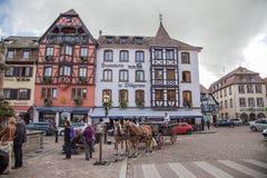 Centro edificato di Obernai, l'Alsazia, Francia Fotografia Stock