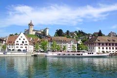 Centro edificato medievale Schaffhausen, Svizzera Fotografie Stock Libere da Diritti
