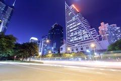 Centro financeiro de Caiwuwei da opinião da noite da cidade de shenzhen foto de stock