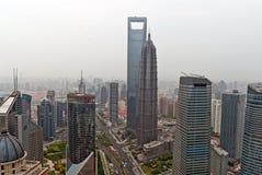 Centro financeiro de mundo de Shanghai e torre de Jin Mao. Foto de Stock Royalty Free