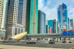 Centro financiero de Dubai Imagenes de archivo