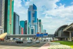Centro financiero de Dubai Fotos de archivo libres de regalías
