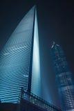 Centro finanziario alla notte, Cina del mondo di Shanghai Fotografie Stock