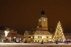 Centro in giorni di Natale, Romania di Brasov Fotografia Stock Libera da Diritti