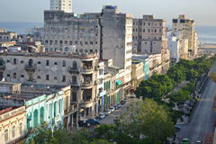 Centro Havana. View over central Havana towards the Malecon in Cuba Royalty Free Stock Photos